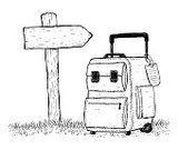 Travel,Doodle,People Traveling,Suitcase,Line Art,Drawing - Art Product,Ilustration,Vacations,Design,Bag,Travel Destinations,Luggage,Tourism,Wooden Post,Grass,Journey