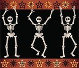 Human Skeleton,Day Of The Dead,Dancing,Halloween,Human Skull,Death,Vector,Jumping,Star Shape,Three Objects,Floral Pattern,Holiday,Spooky,Medical,Medicine And Science,Black Background,Illustrations And Vector Art,Holidays And Celebrations,Halloween,Orange Color,White,Ilustration,Fear,Celebration