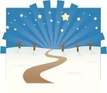 Road,Footpath,Winter,Single Lane Road,Star - Space,Holiday,Snow,Night,Bare Tree,Star Shape,Landscape,Tree,Ilustration,Non-Urban Scene,Sky,Empty,Cold - Temperature,Vector,Illustrations And Vector Art,Nature,Landscapes,Season,Winter,Vector Backgrounds,Tranquil Scene,Rural Scene