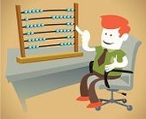 Abacus,Business,Sale,Retro Revival,Subtraction,Vector,Happiness,Male,Businessman,Cheerful,Calculator,Desk,Symbol,Place of Work,Mathematics,Ideas,Cartoon,Concepts,Financial Figures,Occupation,Sign,Tie,Mathematical Symbol,Computer Graphic,Counting,Ilustration,Cute,Sitting,Working,Savings
