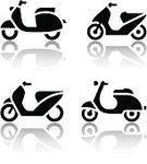 Motor Scooter,Push Scooter,Computer Icon,Symbol,Travel,Street,Moped,Silhouette,White Background,Series,Style,1960s Style,Isolated,Set,Sign,Land Vehicle,Clip Art,Reflection,Transportation,Old-fashioned,Black Color