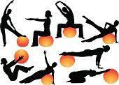 People,Strength,Balance,Lifestyles,Sport,Human Body Part,Toned Image,Ball,Human Muscle,Muscular Build,Crouching,Stretching,Gym,Silhouette,Healthy Lifestyle,Exercising,Adult,Illustration,Fitness Ball,Relaxation Exercise,Health Club,Women,Pilates,Vector,Relaxation