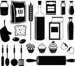 Vector,Domestic Kitchen,Baking,Symbol,Flour,Ingredient,Wheat,Icon Set,Bread,Whole Wheat,Cooking,Black Color,Bakery,Cookie,Cereal Plant,Food,Cake,Butter,Isolated,Image,Loaf of Bread,Toast,Corn,Rolling,Ilustration,Computer Graphic,Bottle,Breakfast Cereal,Eggs,Set,Spice,Merchandise,Dough,Biscuit,Group of Objects,Meal