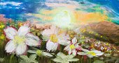 Ilustration,Country and Western Music,Grass,Gardening,Acrylic Painting,Daisy,Artist's Canvas,Farm,Sunset,Image,Beautiful,Creativity,Multi Colored,Rural Scene,Flower,Summer,Charming,Nature,Colors,Yellow,Red,Blue,Bright