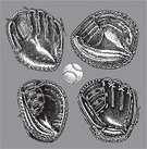 Baseball Glove,Baseball - Sport,Baseballs,Catchers Mitt,Black And White,Sports Equipment,Outfield,Ilustration,Vector,Infield,Pen And Ink,Collection,Multiple Image,Arrangement,Set,Group of Objects,hand drawn