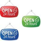 Open Sign,24 Hrs,Blue,Sign,Green Color,White,Label,Information Sign,Red