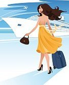 Mode of Transport,Journey,Business,Transportation,Vacations,Nautical Vessel,Suitcase,Recreational Boat,Passenger Craft,Passenger,Tourist,Steamboat,Cruise Ship,Sea,Business Travel,Adult,Illustration,Women,Businesswoman,Vector,Boarding,Passenger Ship,Cruise,Tourism,Travel,Ship,
