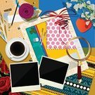 Scrapbook,Collection,Ilustration,Ornate,Record,Eraser,Obsolete,Book Cover,Coffee - Drink,Style,Decoration,Flower,Paper,Torn,Frame,Art Deco,Magnifying Glass,Image,Design,Cup,Frame,Old-fashioned,White,Computer Graphic,Greeting,Photograph,Backgrounds,Love,Label