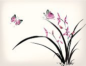 Orchid,Butterfly - Insect,Watercolor Paints,Watercolor Painting,Spa Treatment,Ilustration,Health Spa,Friendship,Chinese Culture,Flying,Flower,Tropical Climate,Single Flower,Ink,Leaf,Tropical Flower,Love,Clip Art,Wing,Ornate,Paintings,Vector,Buddhism,Summer,Nature,Branch,Design Element,Elegance,Pink Color,Couple,Exoticism,Illustrations And Vector Art