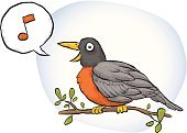 Bird,Singing,Robin,Animal,Birdsong,Sound,Cartoon,Speech Bubble,Music,Cheering,Sitting,Feather,Twig,Peeking,Perching,Branch,Cheerful,Vector,Leaf,Joy,Illustrations And Vector Art,Beak,Visual Art,Happiness,Actions,Arts And Entertainment,Wing,Smiling,Musical Note,Color Image