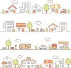 Built Structure,House,Urban Scene,Car,In A Row,Tree,City,Town,Fountain,School Building,Street,Bicycle,Store,Pick-up Truck,Park - Man Made Space,Ilustration,Bus Stop,Residential Structure,Bus,Truck,Vector