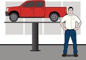 Elevator,Pick-up Truck,Car,Examining,Car Dealership,Auto Repair Shop,Mechanic,Workshop,Vehicle Door,Repairing,Ilustration,Tire,Technician,Scrutiny,Damaged,Tail Light,Flooring,Moving Up,Equipment,Headlight,Mode of Transport,Wall,Surrogate,Pants,Medical Exam,Standing,Shirt,Window,Men,Mirror,Vehicle Part,Vehicle Maintenance,Name Tag,Vector,Motor Vehicle,Solution,Finance,Expertise,Wheel,Estimate,Working,Work Tool