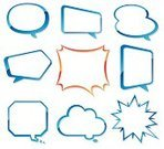 Speech Bubble,White Background,Thought Bubble,Ilustration,Coding,Group of Objects,Manga Style,Vector,Computer Icon,Communication,Material,Shiny,Glass - Material,Blue,Variation,Cool,Beauty
