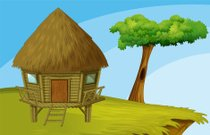 Hut,Cabin,Cliff,Tree,Camping,Beach,Mountain Peak,Domestic Room,Door,Mountain,Nature,On Top Of,Bungalow,Sky,Window,Hollow,Single Object,Wood - Material,Brown,Thatched Roof,Closed
