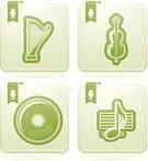 Symbol,Harp,Cello,Musical Instrument,Sign,CD,Outline,Music,Musical Note,Vector