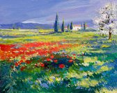 Oil Painting,Fine Art Painting,Landscape,Paintings,Painted Image,Flower,Green Color,Poppy,Meadow,House,Acrylic Painting,Oil And Acrylic,Nature,Summer,Brush Stroke,Tree,Oil Paint,Color Image,Field,Sunny,Flora Family,Blue,Red,Multi Colored,Plant,Grass,Colors,Magenta