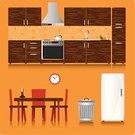 Domestic Kitchen,Dining Room,Domestic Room,Chair,Table,Dining,Home Interior,Cooking,Wood - Material,Vector,Restaurant,House,Ilustration,Food,Residential Structure,Storage Compartment,Vase,Warehouse,Design,Exhaust Fan,Meal,Dinner,Computer Graphic,Comfortable,Garbage,Pattern,Clock,Storage Room,Green Color,Breakfast,Metal,Garbage Dump,Travel Locations,Time,Concepts And Ideas,Drink,Ornate,Brown,version