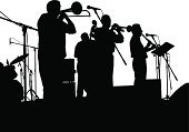 Musical Band,Musical Instrument,Jazz,Vector,Playing,Silhouette,Music,Double Bass,Trombone,Musician,Performing Arts Event,Trumpet,Banjo,Dixieland,Popular Music Concert,Ideas,Ilustration,Presentation