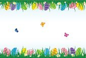 Easter,Frame,Flower,Grass,Animal Egg,April,Easter Egg,Colors,Green Color,Image,Springtime,Pink Color,Multi Colored,Backgrounds,Eps10,Yellow,Red,Purple,Nature,Ilustration,Abstract,Chamomile,Flying,Vector,Backdrop,Sky,Butterfly - Insect,Blue,Placard