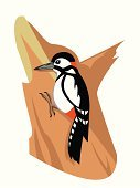 Woodpecker,Red,Tree,Nature,Beak,Bird,zoological,Symbol,Wildlife,Awe,Ilustration,Vector,Pecking,Cute,Fun,Spotted
