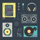 Headphones,Turntable,Vector,Microphone,Radio,Equipment,Techno,Symbol,streaming,audio player,Listening,Fashion,Electric Mixer,Abstract,Computer Graphic,Technology