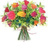 Bouquet,Cut Flowers,Mothers Day,Rose - Flower,Flower,Bunch,Backgrounds,Bow,Bow,Summer,Gift,Ilustration,No People,Anniversary,Red,Arrangement,Freshness,Leaf,Lush Foliage,Romance,Orange Color,Isolated,Multi Colored,Pink Color,Green Color,Celebration,Tied Knot,Ribbon