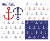 Nautical Vessel,Anchor,Pattern,Backgrounds,Clip Art,Navy Blue,Vector Backgrounds,Wallpaper Pattern,Seamless,Vector,Computer Graphic,Red,Blue