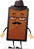Cartoon,Eyeglasses,Hat,Technology,Mustache,Isolated,Happiness,Hipster,Electrical Equipment,Retro Revival,Characters,Digital Tablet,Single Object,Smiling