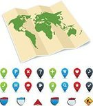 Direction,Map,Distance Marker,Cartography,Equipment,Design,Isolated,Symbol,Set,Collection,Vector,Ilustration,Computer Icon,World Map