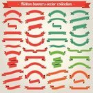 Ribbon,Vector,Banner,Curve,Flag,Red,Scroll Shape,Set,Design Element,Blank,Sign,Shape,Decoration,Green Color,Backgrounds,Empty,Collection,Art,template