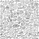 Doodle,Food,Cooking,Symbol,Domestic Kitchen,Fast Food,Bread,Cake,Vegetable,Baking,Lunch,Dinner,Design Element,Fish,Beer Bottle,Beer - Alcohol,Drawing - Art Product,Pizza,Meat,Chicken - Bird,Backgrounds,Desire,Breakfast,Spoon,Milk,Dieting,Vector,Set,Cute,Porridge,Holiday,Cheese,Variation,Shape,Hungry,Plate,Ilustration,Chocolate,Drinking Water,Collection,Sweet Food,Water,Milk Bottle,Cup