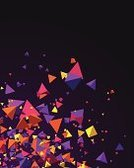 Abstract,Exploding,Geometric Shape,Pyramid Shape,Triangle,Chance,Backgrounds,Three-dimensional Shape,Digitally Generated Image,Chaos,Exploration,Shape,Yellow,Purple,Futuristic,Modern,Design,Pink Color,Vector,Ilustration,Computer Graphic