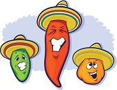 Cartoon,Pepper - Vegetable,Computer Graphic,Chili Pepper,Orange Color,Humor,Cheerful,Restaurant,Clip Art,Heat - Temperature,Spice,Refreshment,Smiling,Mexican Culture,Drawing - Art Product,Laughing,Ingredient,Backgrounds,Sombrero,Ethnicity,Jalapeno Pepper,Red,Variation,Green Color,Human Teeth,Food,Vegetable,Hat,Latin American and Hispanic Ethnicity,Ilustration,Symbol,Mascot,No People,Characters,Vector,Set