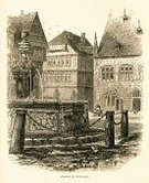 Halberstadt,Germany,Water,Decoration,German Music,Fountain,German Culture,Sculpture,Engraved Image,Antique,Ornate,Engraving,Statue,Old-fashioned