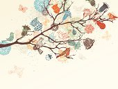 Flower,Retro Revival,Old-fashioned,Floral Pattern,Bird,Springtime,Ilustration,Tree,Beauty In Nature,Silhouette,Drawing - Art Product,Sketch,Doodle,Branch,Nature,Leaf,Pattern,Beautiful,Tracery,Abstract,Decoration,Backgrounds,Feather,Art,Butterfly - Insect,Scroll Shape,Computer Graphic,Flying,Vector,Animals In The Wild,Swirl,Design,Summer,Ornate,Sky,Squiggle,Wing,Scribble,Shape,Season,Curve,Cartoon,Group of Objects,Style,Wildlife,No People,Day,Design Element,Image,Twig