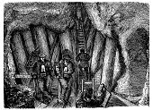 Coal Miner,Coal Mine,Underground,Mine,Image Created 19th Century,Industry,Engraved Image,Industrial Revolution,Digging,Pit Mine,Mining Lamp,Victorian Style,Gold Mine,Old,The Past,Black And White,Manual Worker,Place of Work,Styles,Copper Mine,Antique,Obsolete,Ilustration,Mining,Fossil Fuel,Mine Workings,Old-fashioned,Miner,Coal,Built Structure,History,Mine Shaft,Physical Activity,19th Century Style,Tin Mine,Iron Mining,Industrial Building
