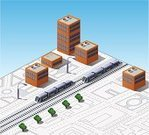 Isometric,Train,Street,Station,House,City,Building - Activity,Vector,Architecture,Urban Scene