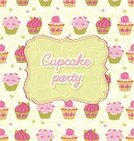 Backgrounds,Dessert,Frame,Cupcake,Text,Heart Shape,Pattern,Sweet Food,Seamless,Snack,Cake,Party - Social Event,Cute,Food,Dessert Topping,Invitation,Vector,Greeting Card,Ilustration,Muffin