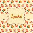 Cupcake,Frame,Text,Backgrounds,Heart Shape,Pattern,Party - Social Event,Seamless,Sweet Food,Cake,Snack,Muffin,Invitation,Food,Dessert Topping,Vector,Ilustration,Greeting Card,Cute,Dessert