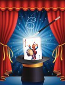 Curtain,Magic Trick,Magic,Magic Wand,Magician,Catwalk - Stage,Drum,Shiny,Illusion,Imagination,Heat - Temperature,Magic Dust,Backgrounds,Leisure Games,Design,Light - Natural Phenomenon,Ilustration,Jack,Vibrant Color,Cards,Harry Houdini,Absence,Playful,Playing,Joker,Top Hat