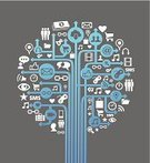 Social Networking,Symbol,Computer Icon,Tree,The Media,Social Issues,Business,Internet,Laptop,Set,Sign,Vector,Ilustration,Diagram,Concepts,Technology