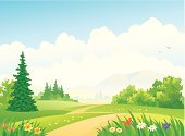 Cartoon,Grass,Flower Bed,Springtime,Landscape,Forest,Field,Hill,Formal Garden,Nature,Cloud - Sky,Ornamental Garden,Butterfly - Insect,Single Lane Road,Green Color,Environment,Environmental Conservation,Evergreen Tree,Cloudscape,Vector,Mountain,Woodland,Pine Tree,Sky,Road,Footpath,Flower,Idyllic,Beauty In Nature,Coniferous Tree,Drawing - Art Product,Spruce Tree,Clip Art,Horizon,Rural Scene,Fir Tree,Travel,Single Flower,Ilustration,Plant,Plain,Meadow,Copy Space,Lush Foliage,Lawn,Season,Backgrounds,Outdoors,Non-Urban Scene,Color Image,Bush,Tree,Summer,Scenics