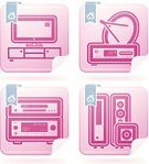Blue,Pink Color,White,Amplifier,Sign,Symbol,Subwoofer,Closet,Television Set,Satellite Dish,Liquid-Crystal Display,Speaker,Audio Equipment,White Background,Crockery,Audio-Video,Vector,Electrical Equipment,Drawer,Entertainment Center,DVD Player,Satellite Television