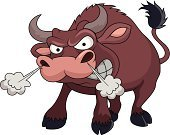 Animals In The Wild,Bull - Animal,Anger,Humor,Brown,Grazing,Animal,Happiness,Cheerful,Cartoon,Vector,Characters,Mascot,Ilustration,Fun,Large
