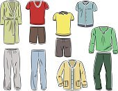 Merchandise,Convenience,Vector,Men,Male,Fashion,White Background,Clothing,Set,T-Shirt,Image,Textile,Group of Objects,Comfortable,Cultures,Cotton,Shorts,Bathrobe,varicolored,Pants,Color Image,Ilustration,Housecoat,Collection,Domestic Life,Cartoon,Isolated