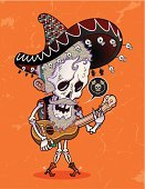 Day Of The Dead,Mexican Culture,Human Skeleton,Animal Skeleton,Dead Person,Halloween,Cowboy Boot,Sombrero,Guitarist,Vector,Latin American and Hispanic Ethnicity,Animated Cartoon,Cartoon,Textured,Latin Music,Singing,Spur,Wood - Material,Love,Indigenous Culture,Knit Hat,Human Bone,Orange Color,Latin American Culture,Serenading,Animal Bone,People,handcarves,Illustrations And Vector Art