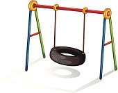 Schoolyard,Tire,Child,Car,Recycling,Swing,Childhood,Sport,Activity,Rope,Old,Park - Man Made Space,Playground,Wheel,Single Object,Equipment,Hinge,Fun,Rubber,Action,Metal