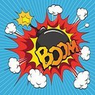 Comic Book,Boom,Cartoon,Bomb,Exploding,Speed,Anger,Danger,Advertisement,Creativity,Blue,White,Copy Space,Symbol,Drawing - Art Product,Vector,No People,Thinking,Ilustration,Backgrounds