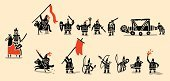 Medieval,Symbol,Knight,War,History,Cavalry,King,Men,Silhouette,Archery,Battle,Armed Forces,Black Color,Siege,Warrior,Army,Characters,Cartoon,Battering Ram,Body Armor,Blood,Flag Bearer,Club,Lords,Mace,Chain Mail,Cross Bow,Shadow,Flaming Torch,Simplicity,Flag,Weapon,Ilustration,Leadership,Sword,Work Helmet,Standard Bearer,European Culture,People,Sign