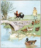 Old-fashioned,Ilustration,Victorian Style,Agriculture,Chicken - Bird,Cultures,Duck,Rustic,Image Created 19th Century,Agricultural Occupation,Engraved Image,19th Century Style,Antique,Printed Media,Water,Animal,Male,Water Bird,Farmer,Pond,History,Men,Old,Living Organism,Standing Water,Lithograph,Obsolete,Bird,Print,UK,People,Color Image,Farm,Styles,Picture Book,Nostalgia,British Culture,Europe,English Culture,Randolph Caldecott,Poultry,Art,Nursery Rhyme,European Culture,Free Range,Painted Image,England,Freshwater Bird,Young Men